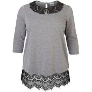 Junarose Grey Top with Black Lace 3X